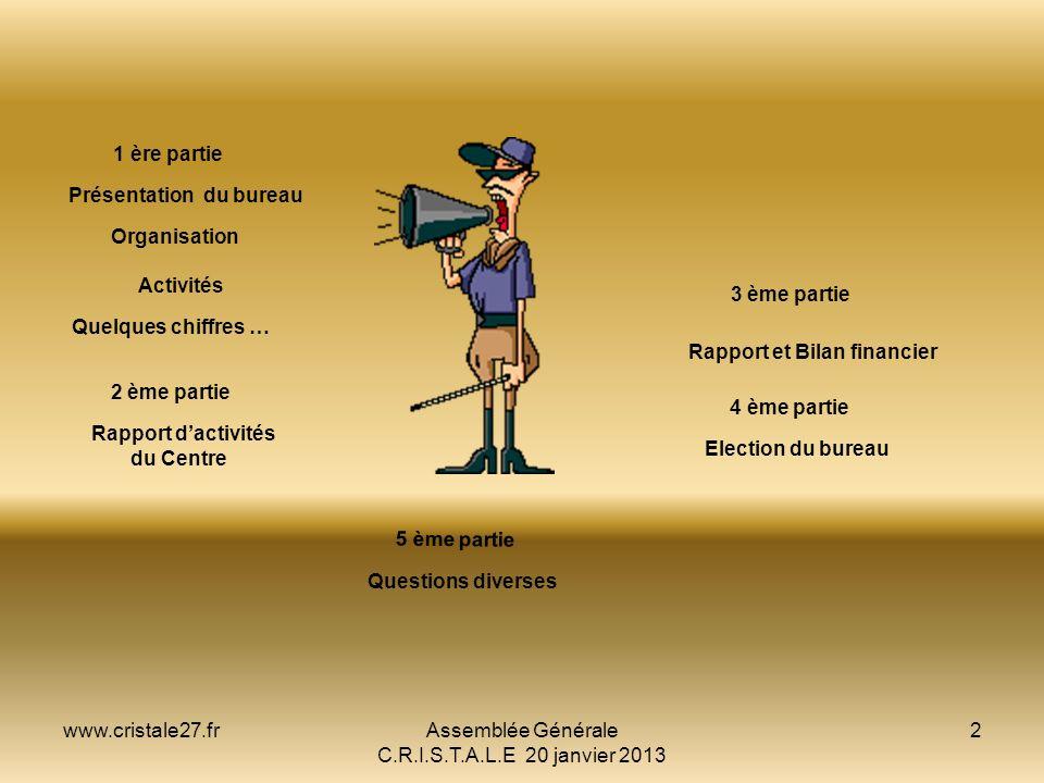 www.cristale27.frAssemblée Générale C.R.I.S.T.A.L.E 20 janvier 2013 2 PRESENTATION Présentation du bureau Organisation Activités Quelques chiffres … L
