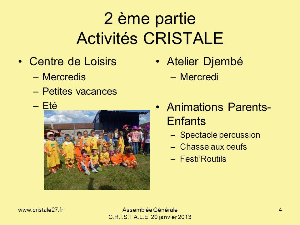 www.cristale27.frAssemblée Générale C.R.I.S.T.A.L.E 20 janvier 2013 4 2 ème partie Activités CRISTALE Centre de Loisirs –Mercredis –Petites vacances –