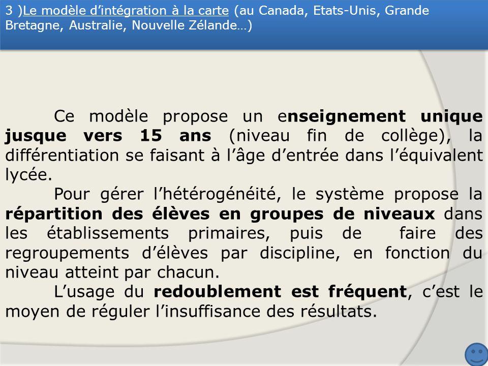 3 )Le modèle dintégration à la carte (au Canada, Etats-Unis, Grande Bretagne, Australie, Nouvelle Zélande…) Ce modèle propose un enseignement unique j