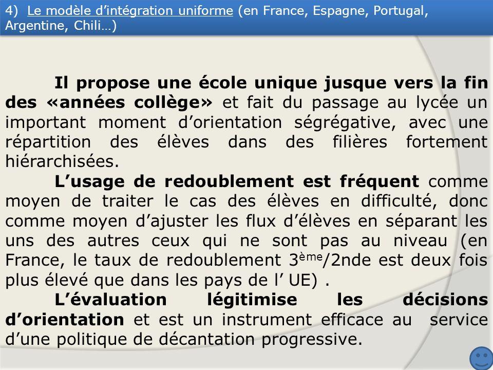 4) Le modèle dintégration uniforme (en France, Espagne, Portugal, Argentine, Chili…) Il propose une école unique jusque vers la fin des «années collèg