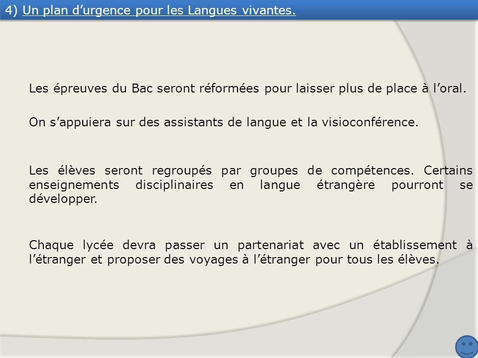 4) Un plan durgence pour les Langues vivantes. Les épreuves du Bac seront réformées pour laisser plus de place à loral. On sappuiera sur des assistant