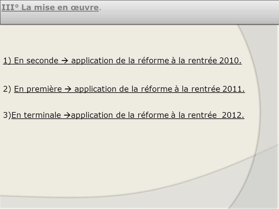 III° La mise en œuvre. 1) En seconde application de la réforme à la rentrée 2010. 2) En première application de la réforme à la rentrée 2011. 3)En ter