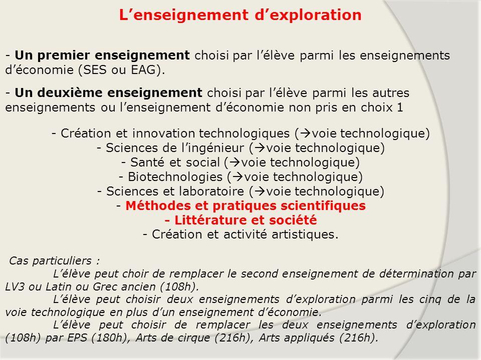 Lenseignement dexploration - Un premier enseignement choisi par lélève parmi les enseignements déconomie (SES ou EAG). - un deuxième enseignement choi