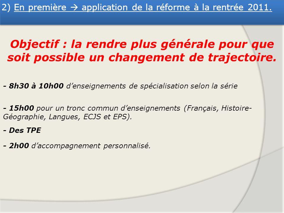 2) En première application de la réforme à la rentrée 2011. Objectif : la rendre plus générale pour que soit possible un changement de trajectoire. -