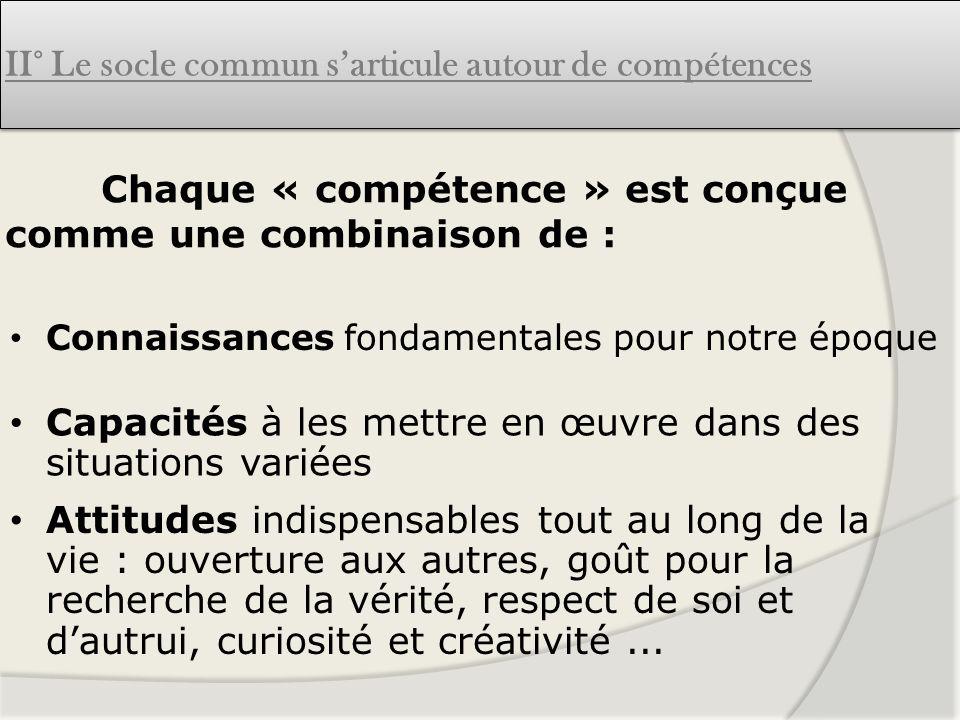 Connaissances fondamentales pour notre époque Chaque « compétence » est conçue comme une combinaison de : Attitudes indispensables tout au long de la