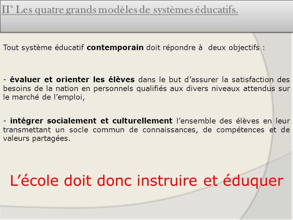 II° Les quatre grands modèles de systèmes éducatifs. Tout système éducatif contemporain doit répondre à deux objectifs : - évaluer et orienter les élè
