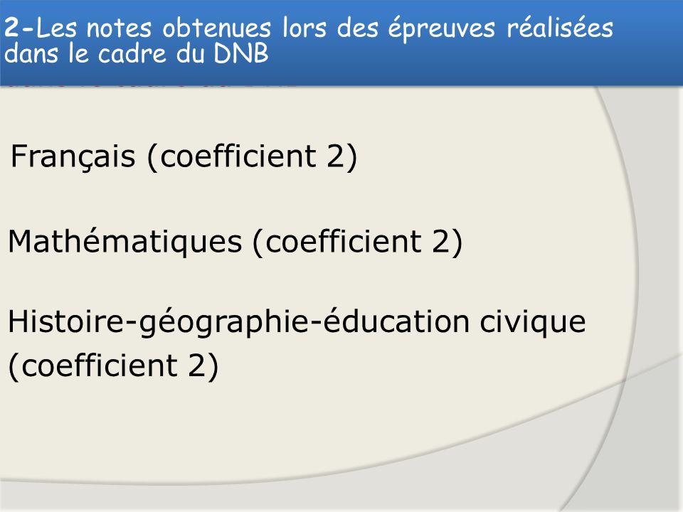 - Les notes obtenues lors des épreuves réalisées dans le cadre du DNB Français (coefficient 2) Mathématiques (coefficient 2) Histoire-géographie-éduca