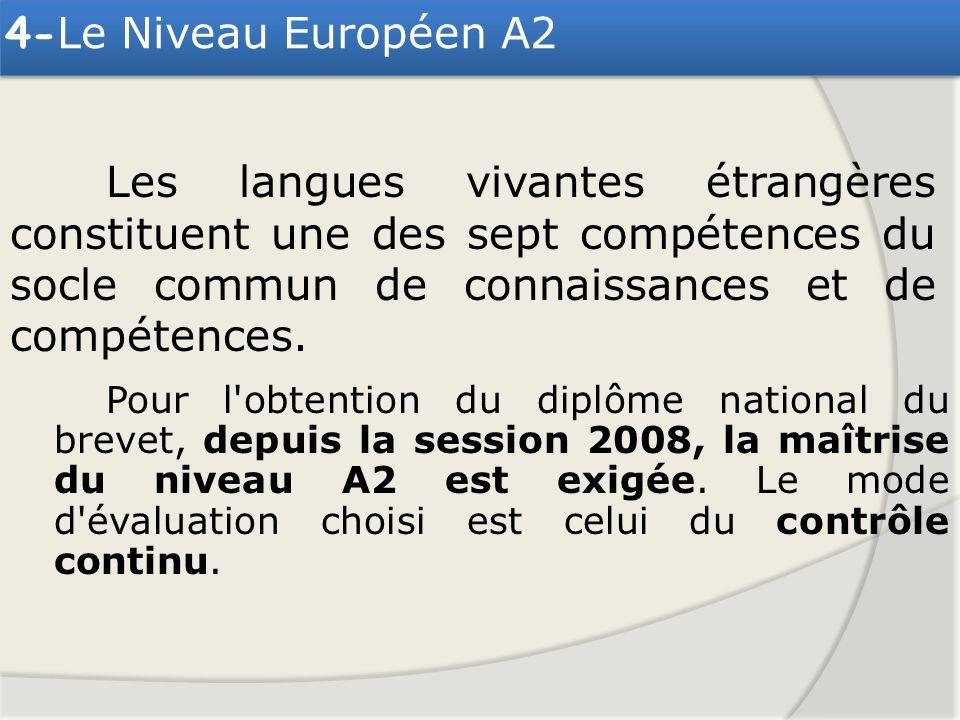 Pour l'obtention du diplôme national du brevet, depuis la session 2008, la maîtrise du niveau A2 est exigée. Le mode d'évaluation choisi est celui du