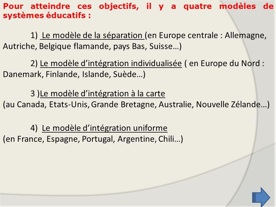 Pour atteindre ces objectifs, il y a quatre modèles de systèmes éducatifs : 1) Le modèle de la séparation (en Europe centrale : Allemagne, Autriche, B