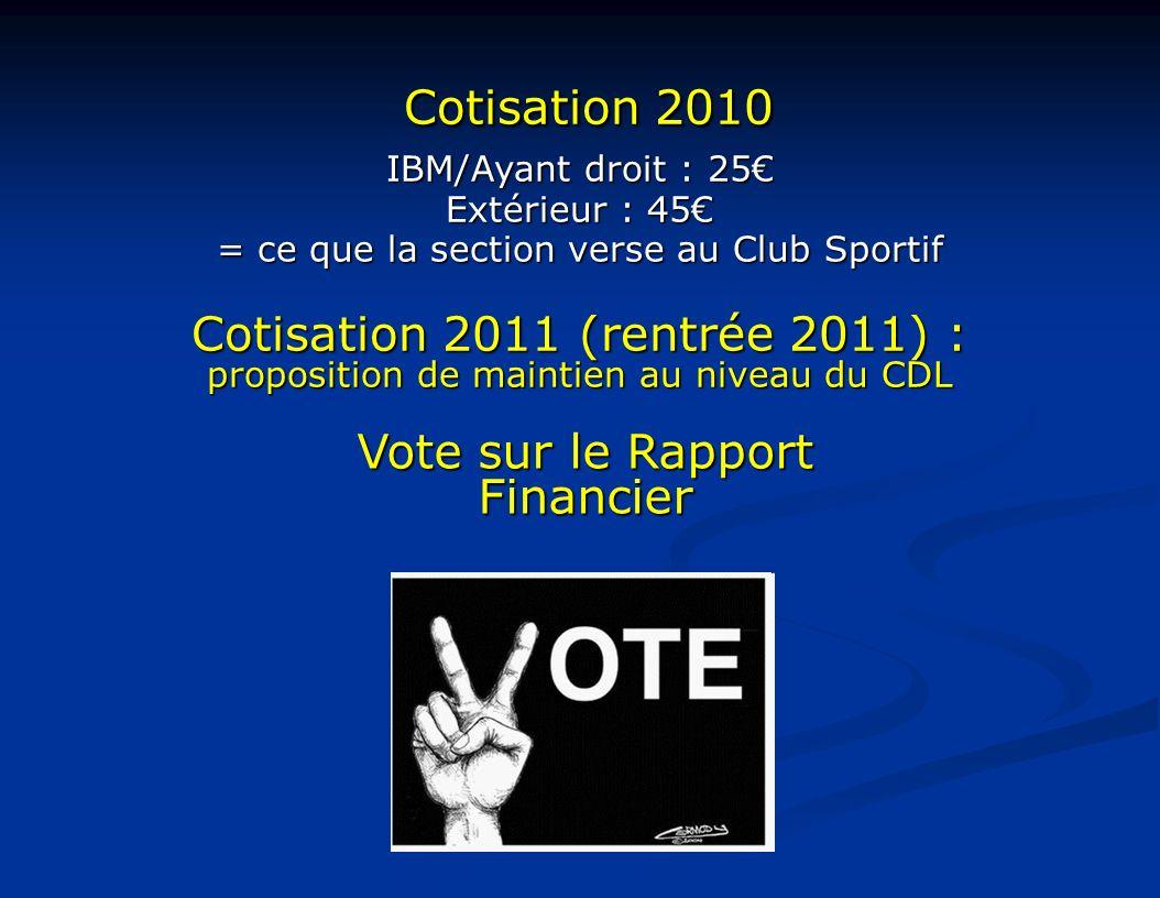 Vote sur le Rapport Financier Cotisation 2010 Cotisation 2010 IBM/Ayant droit : 25 Extérieur : 45 = ce que la section verse au Club Sportif Cotisation 2011 (rentrée 2011) : proposition de maintien au niveau du CDL