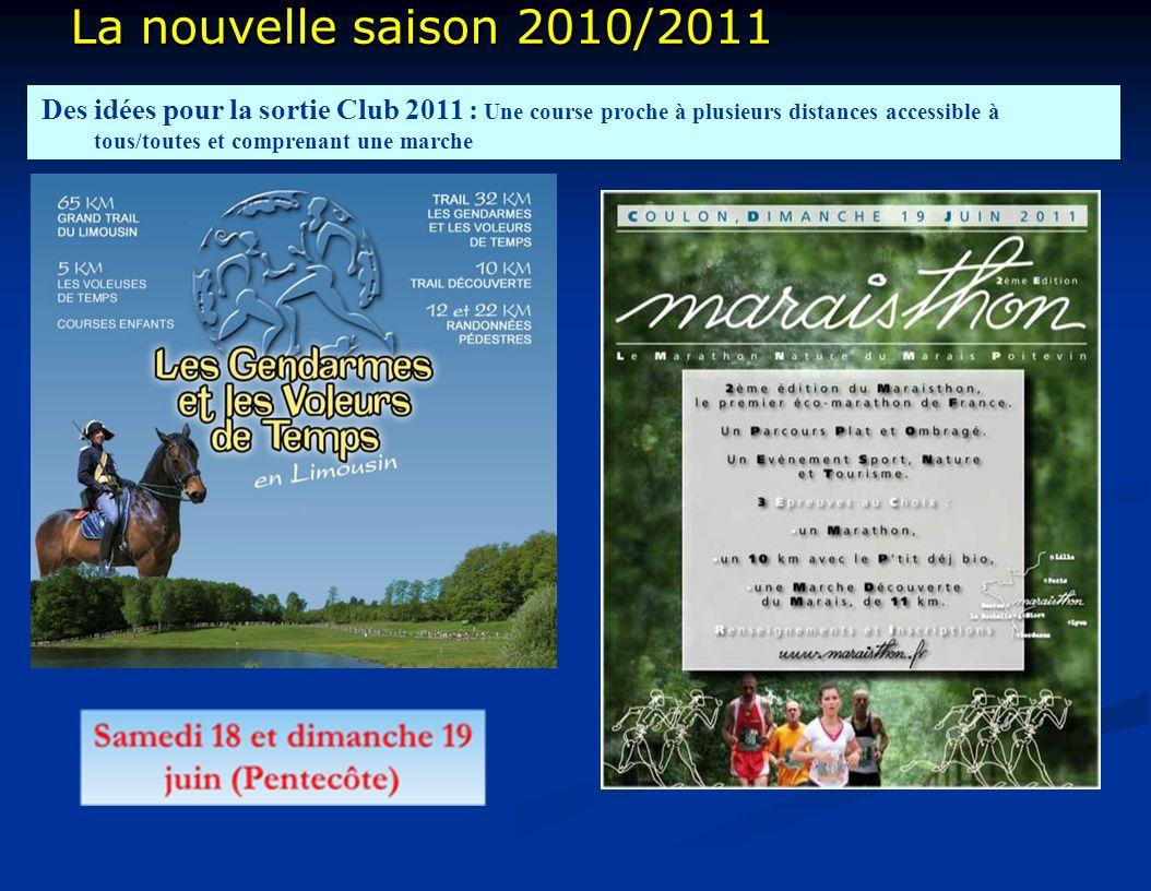 La nouvelle saison 2010/2011 La nouvelle saison 2010/2011 Des idées pour la sortie Club 2011 : Une course proche à plusieurs distances accessible à tous/toutes et comprenant une marche