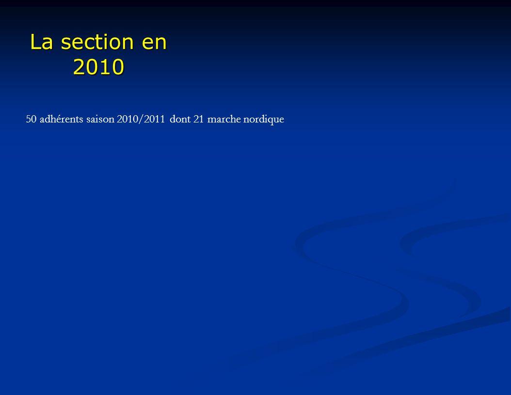 La section en 2010 50 adhérents saison 2010/2011 dont 21 marche nordique