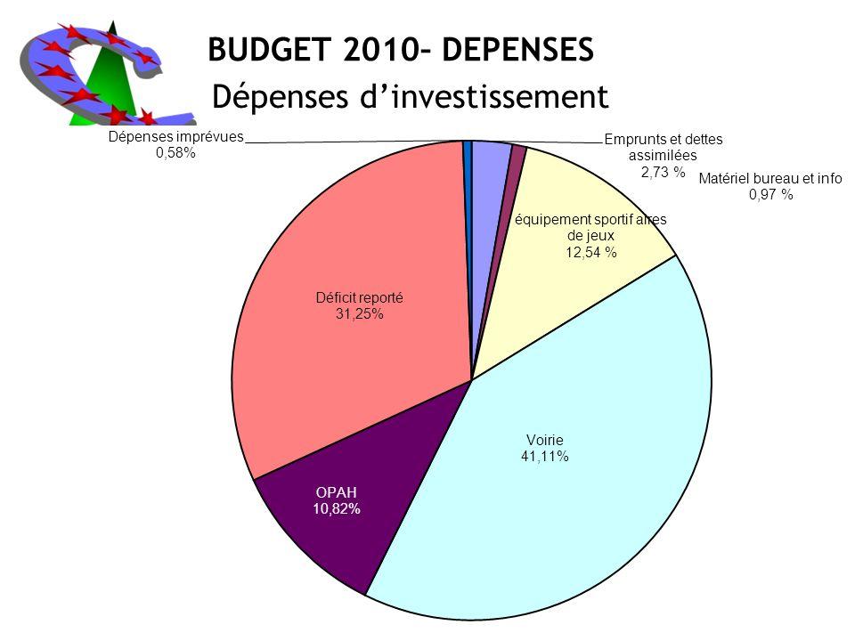 BUDGET 2010– DEPENSES Dépenses dinvestissement