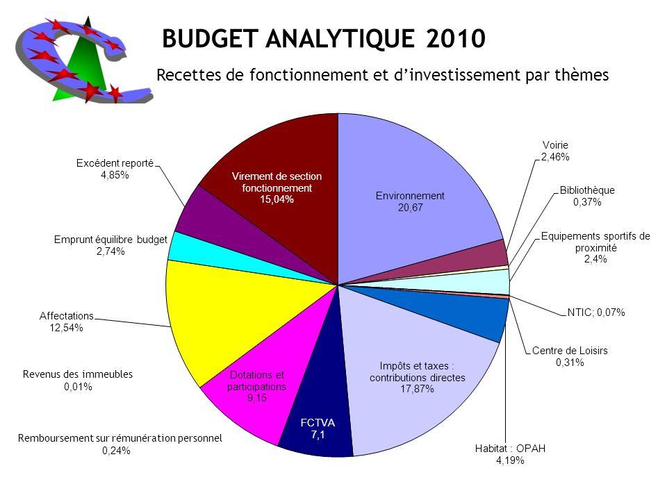 BUDGET ANALYTIQUE 2010 Recettes de fonctionnement et dinvestissement par thèmes