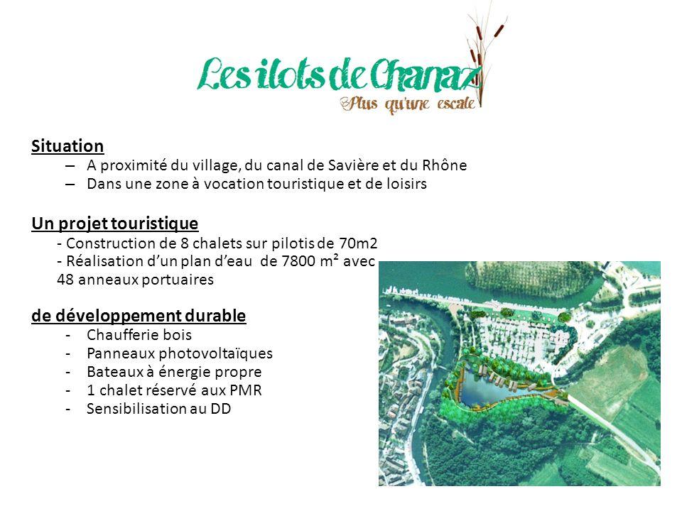 Anticiper les futurs aménagements touristiques Chanaz deviendra un carrefour touristique majeur avec : la vélo-route la voie verte la voie bleue la mise en navigabilité du Haut Rhône le sentier de Saint-Jacques-de-Compostelle Avec la Base Lacustre, la commune souhaite dynamiser davantage ce secteur en réalisant : un pôle économique une plage