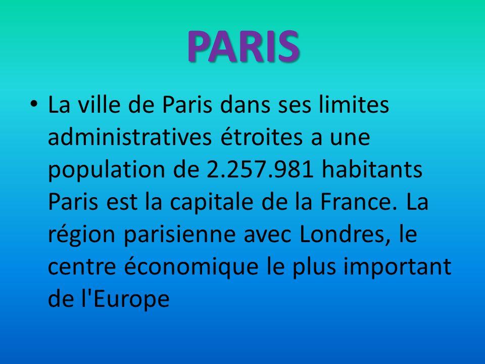PARIS La ville de Paris dans ses limites administratives étroites a une population de 2.257.981 habitants Paris est la capitale de la France. La régio