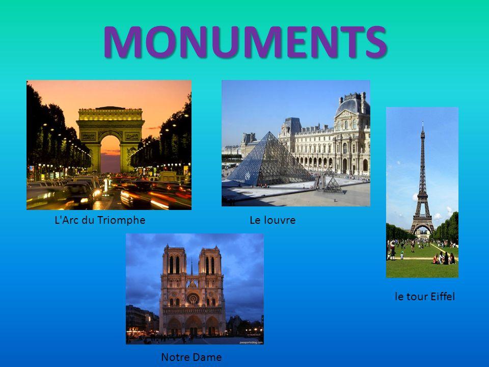MONUMENTS le tour Eiffel Le louvreL'Arc du Triomphe Notre Dame