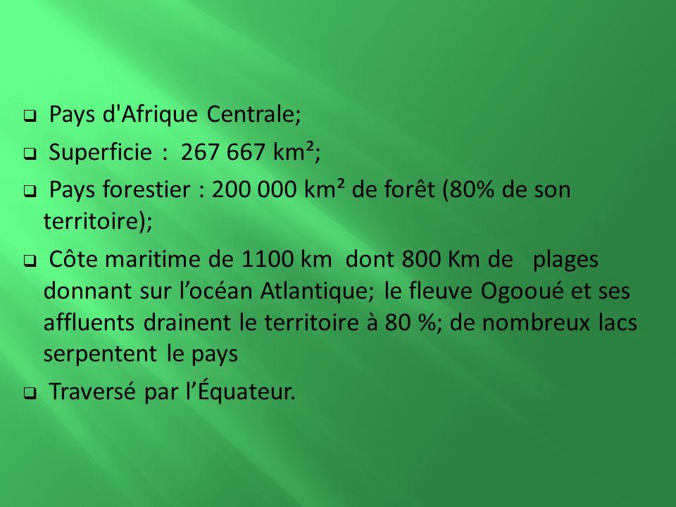 Pays d Afrique Centrale; Superficie : 267 667 km²; Pays forestier : 200 000 km² de forêt (80% de son territoire); Côte maritime de 1100 km dont 800 Km de plages donnant sur locéan Atlantique; le fleuve Ogooué et ses affluents drainent le territoire à 80 %; de nombreux lacs serpentent le pays Traversé par lÉquateur.