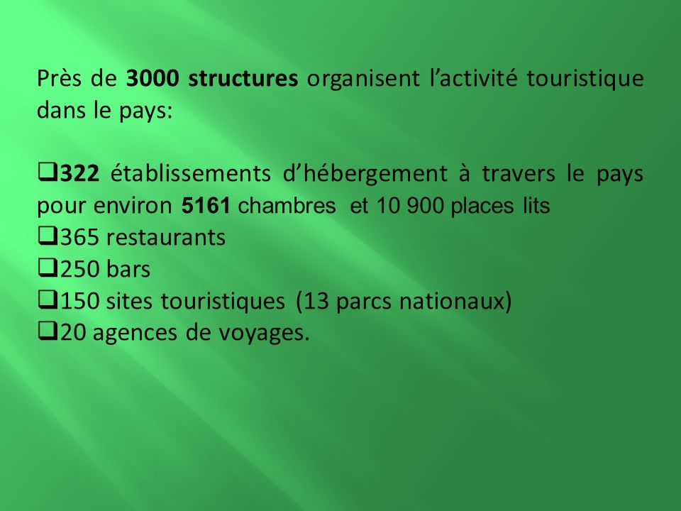 Près de 3000 structures organisent lactivité touristique dans le pays: 322 établissements dhébergement à travers le pays pour environ 5161 chambres et 10 900 places lits 365 restaurants 250 bars 150 sites touristiques (13 parcs nationaux) 20 agences de voyages.