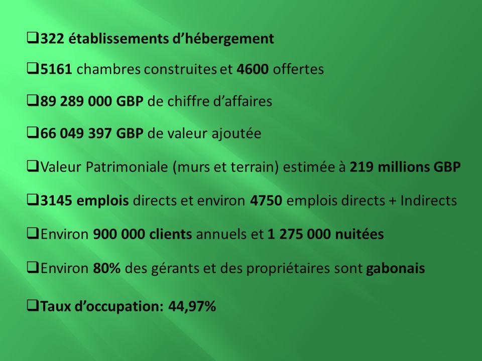 322 établissements dhébergement 5161 chambres construites et 4600 offertes 89 289 000 GBP de chiffre daffaires 66 049 397 GBP de valeur ajoutée Valeur Patrimoniale (murs et terrain) estimée à 219 millions GBP 3145 emplois directs et environ 4750 emplois directs + Indirects Environ 900 000 clients annuels et 1 275 000 nuitées Environ 80% des gérants et des propriétaires sont gabonais Taux doccupation: 44,97%
