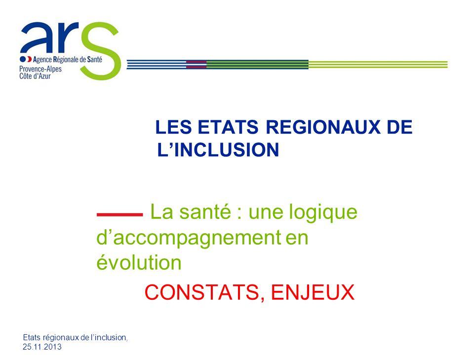 Etats régionaux de linclusion, 25.11.2013 LES ETATS REGIONAUX DE LINCLUSION La santé : une logique daccompagnement en évolution CONSTATS, ENJEUX