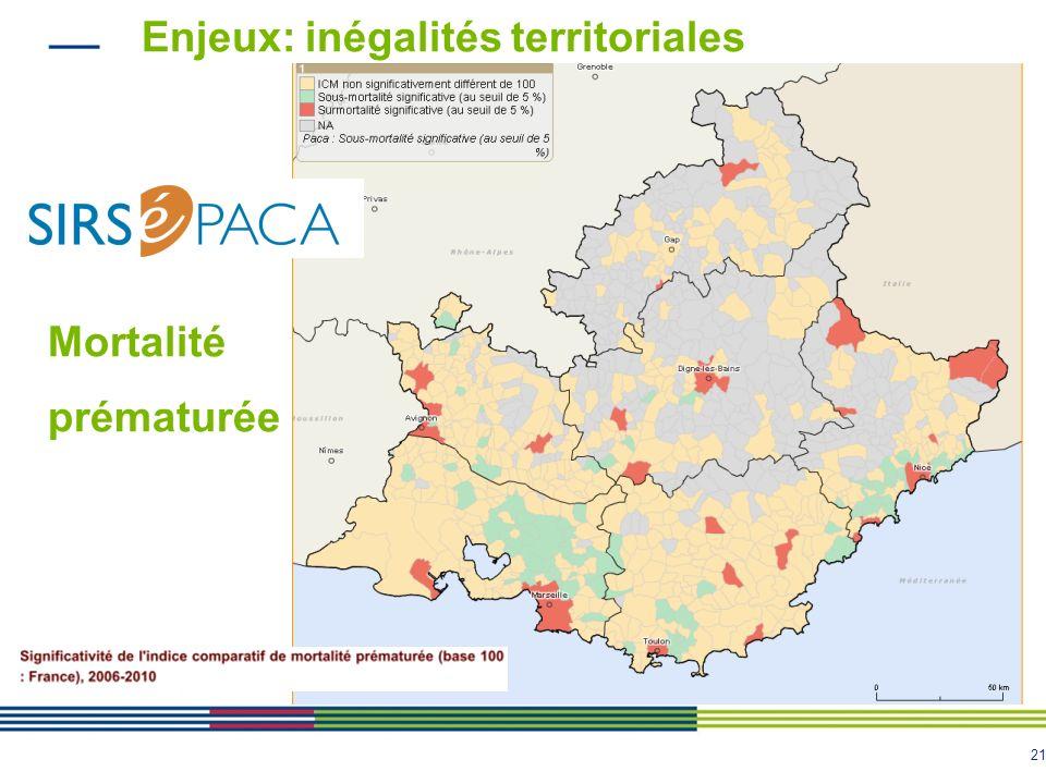 21 Enjeux: inégalités territoriales Mortalité prématurée