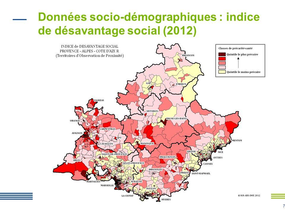 7 Données socio-démographiques : indice de désavantage social (2012)