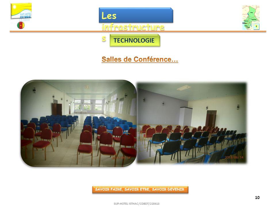 Les infrastructure s TECHNOLOGIE SAVOIR FAIRE, SAVOIR ETRE, SAVOIR DEVENIR 10 SUP-HOTEL ISTHAC/CDBDT/220613