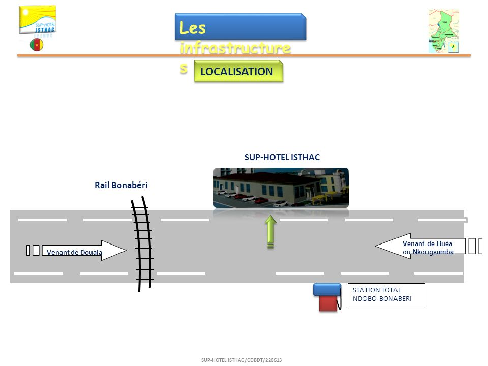 Les infrastructure s LOCALISATION SUP-HOTEL ISTHAC/CDBDT/220613 STATION TOTAL NDOBO-BONABERI Venant de Douala Rail Bonabéri SUP-HOTEL ISTHAC Venant de