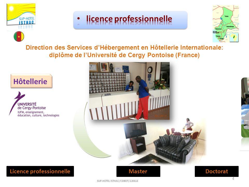 Hôtellerie Licence professionnelleMasterDoctorat 4 SUP-HOTEL ISTHAC/CDBDT/220613 Direction des Services dHébergement en Hôtellerie Internationale: dip