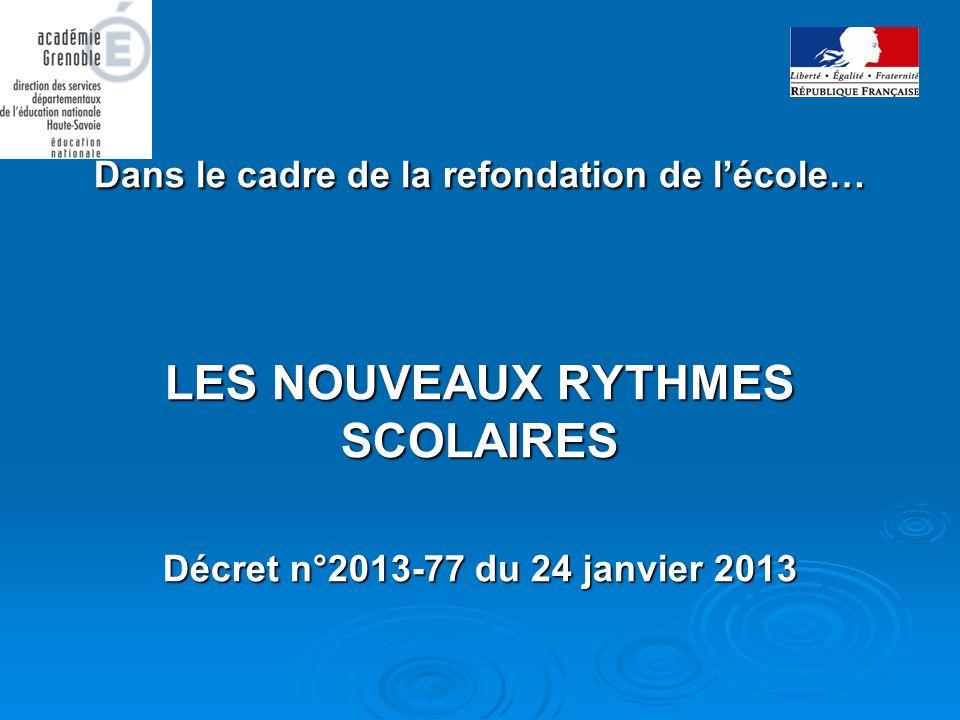 Dans le cadre de la refondation de lécole… LES NOUVEAUX RYTHMES SCOLAIRES Décret n°2013-77 du 24 janvier 2013