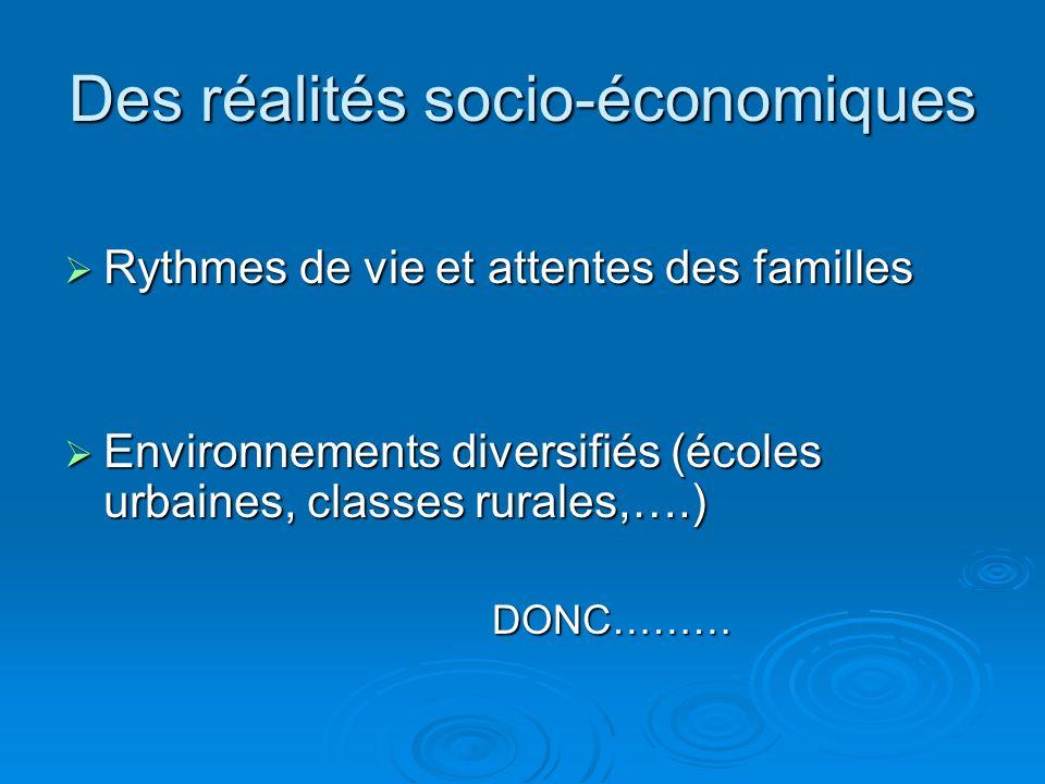 Des réalités socio-économiques Rythmes de vie et attentes des familles Rythmes de vie et attentes des familles Environnements diversifiés (écoles urbaines, classes rurales,….) Environnements diversifiés (écoles urbaines, classes rurales,….) DONC……… DONC………