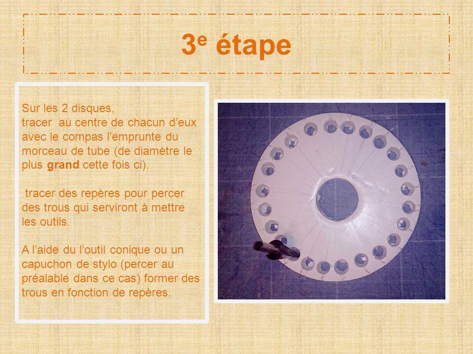 3 e étape Sur les 2 disques, tracer au centre de chacun deux avec le compas lemprunte du morceau de tube (de diamètre le plus grand cette fois ci). tr