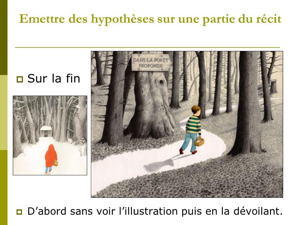 Emettre des hypothèses sur une partie du récit Sur la fin Dabord sans voir lillustration puis en la dévoilant.