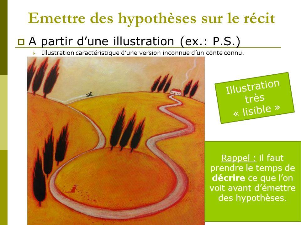 Emettre des hypothèses sur le récit A partir dune illustration (ex.: P.S.) Illustration caractéristique dune version inconnue dun conte connu.
