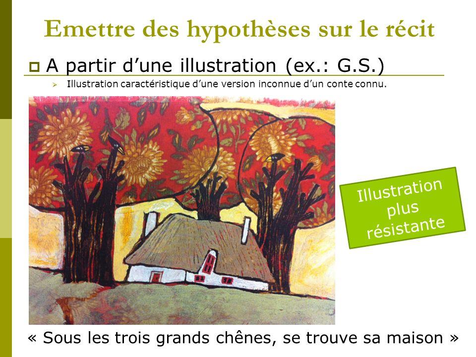 Emettre des hypothèses sur le récit A partir dune illustration (ex.: G.S.) Illustration caractéristique dune version inconnue dun conte connu.