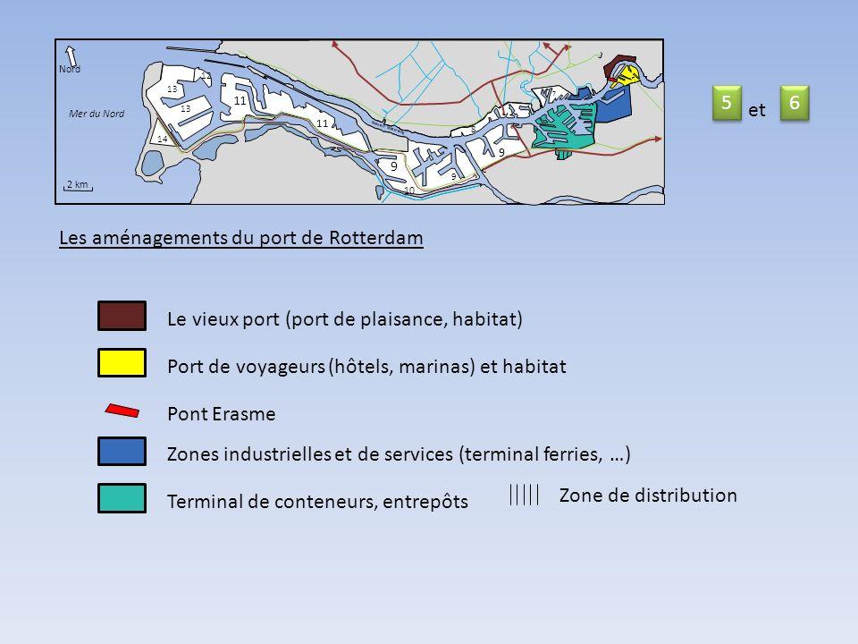 11 14 Nord Mer du Nord 2 km Nieuwe Waterweg 9 10 9 9 11 8 7 12 13 Les aménagements du port de Rotterdam Le vieux port (port de plaisance, habitat) Pont Erasme Zones industrielles et de services (terminal ferries, …) Terminal de conteneurs, entrepôts Zone de distribution 5 5 6 6 et Port de voyageurs (hôtels, marinas) et habitat