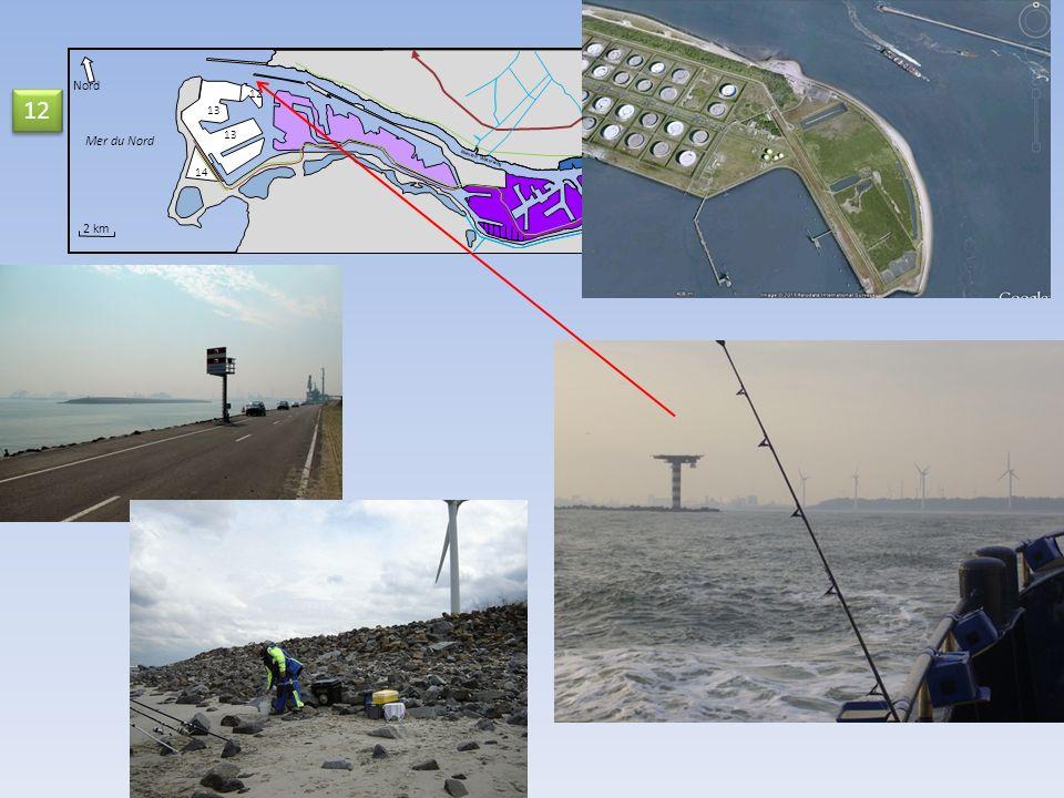 14 Nord Mer du Nord 2 km Nieuwe Waterweg 12 13 12