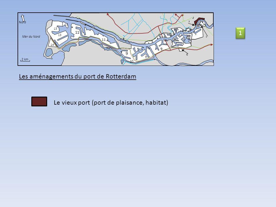 11 14 Nord Mer du Nord 2 km Nieuwe Waterweg 9 10 9 9 11 8 5 6 74 4 3 2 12 13 Les aménagements du port de Rotterdam Le vieux port (port de plaisance, habitat) 1 1