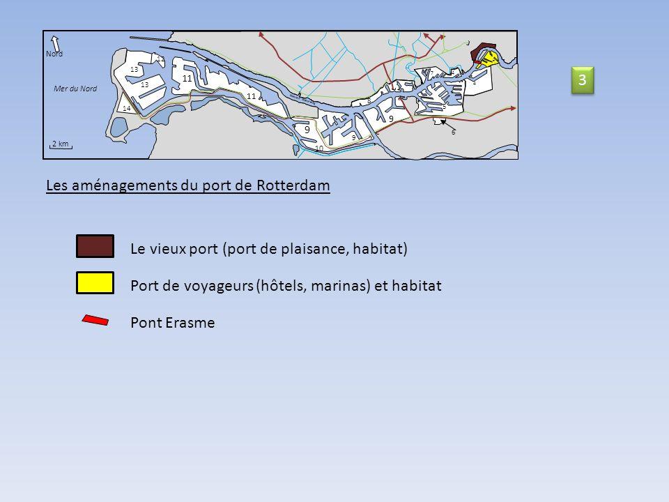 11 14 Nord Mer du Nord 2 km Nieuwe Waterweg 9 10 9 9 11 8 5 6 74 4 12 13 Les aménagements du port de Rotterdam Le vieux port (port de plaisance, habitat) Pont Erasme Port de voyageurs (hôtels, marinas) et habitat 3 3