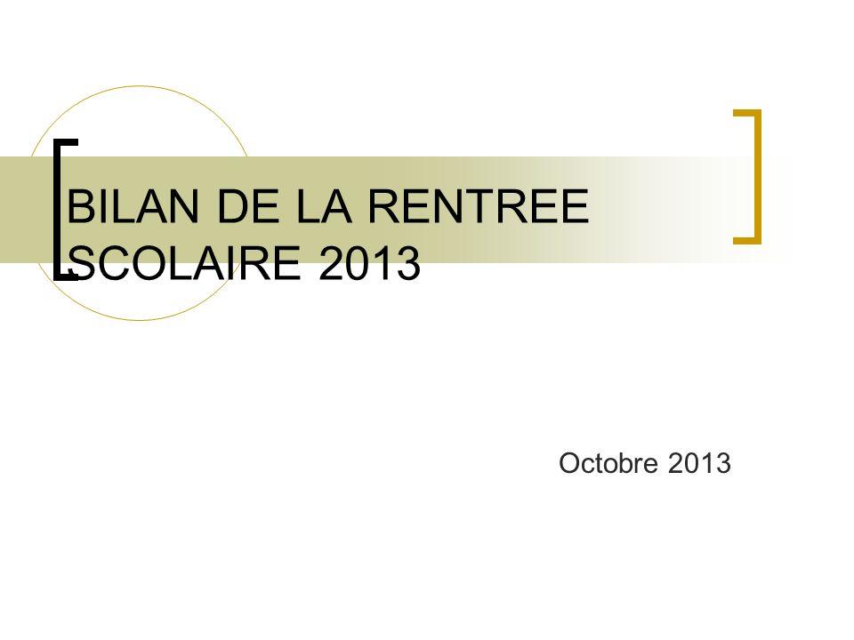 BILAN DE LA RENTREE SCOLAIRE 2013 Octobre 2013