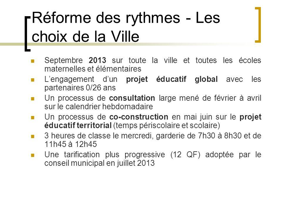 Réforme des rythmes - Les choix de la Ville Septembre 2013 sur toute la ville et toutes les écoles maternelles et élémentaires Lengagement dun projet