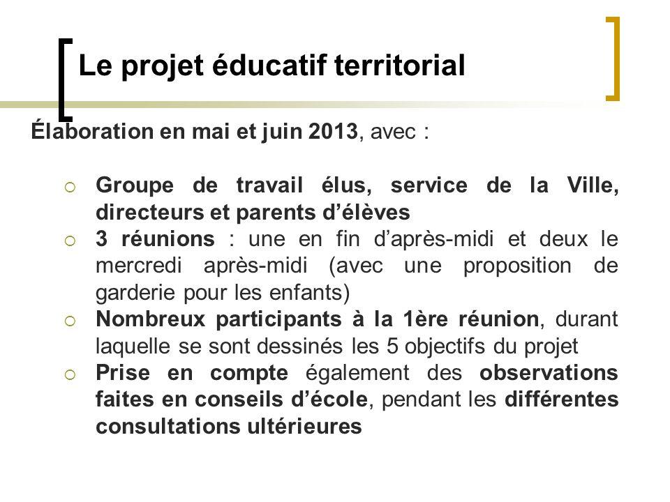 Le projet éducatif territorial Élaboration en mai et juin 2013, avec : Groupe de travail élus, service de la Ville, directeurs et parents délèves 3 ré