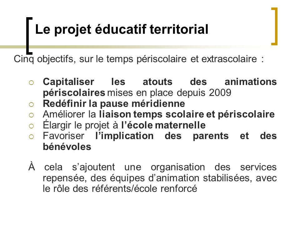 Le projet éducatif territorial Cinq objectifs, sur le temps périscolaire et extrascolaire : Capitaliser les atouts des animations périscolaires mises