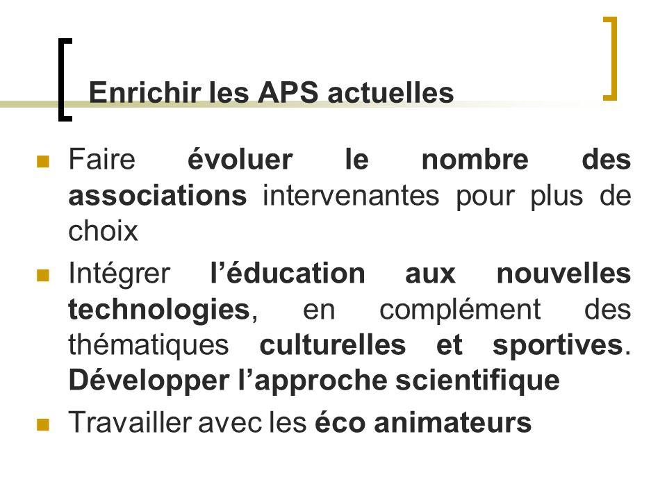 Enrichir les APS actuelles Faire évoluer le nombre des associations intervenantes pour plus de choix Intégrer léducation aux nouvelles technologies, e