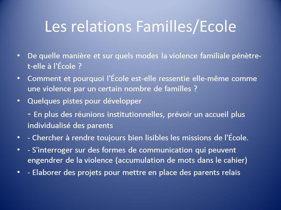 Les relations Familles/Ecole De quelle manière et sur quels modes la violence familiale pénètre- t-elle à l'École ? Comment et pourquoi l'École est-el