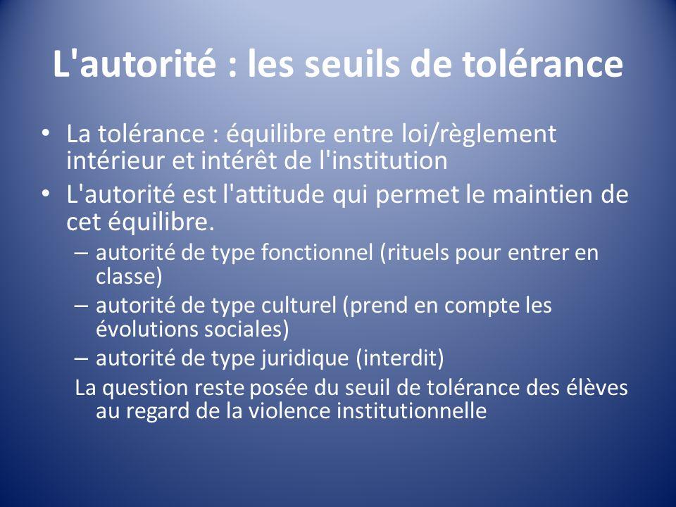 L'autorité : les seuils de tolérance La tolérance : équilibre entre loi/règlement intérieur et intérêt de l'institution L'autorité est l'attitude qui