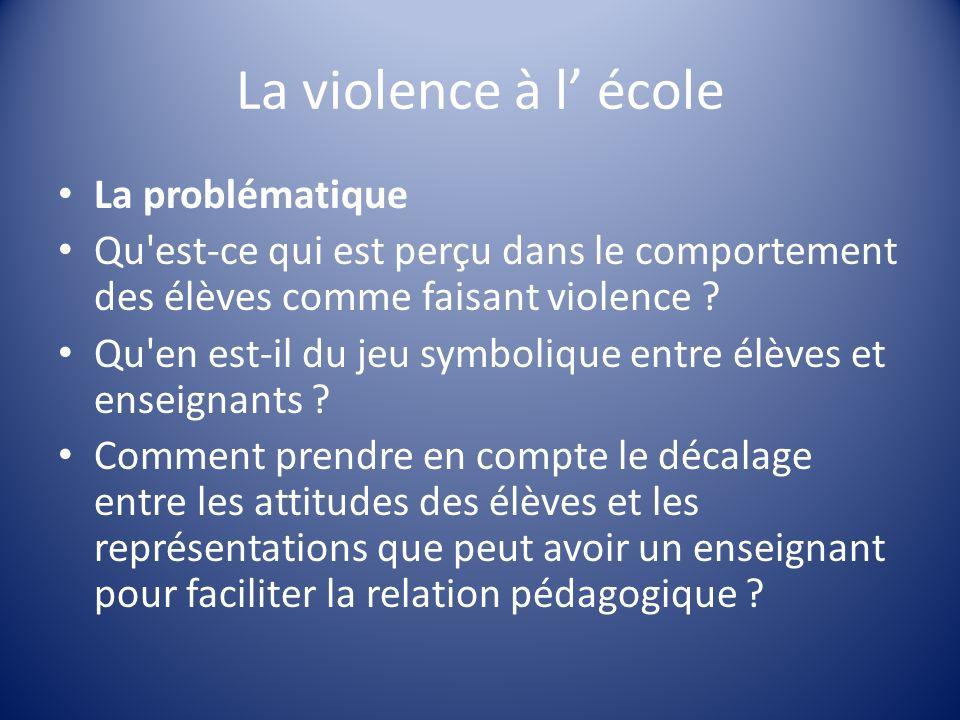 La violence à l école La problématique Qu'est-ce qui est perçu dans le comportement des élèves comme faisant violence ? Qu'en est-il du jeu symbolique