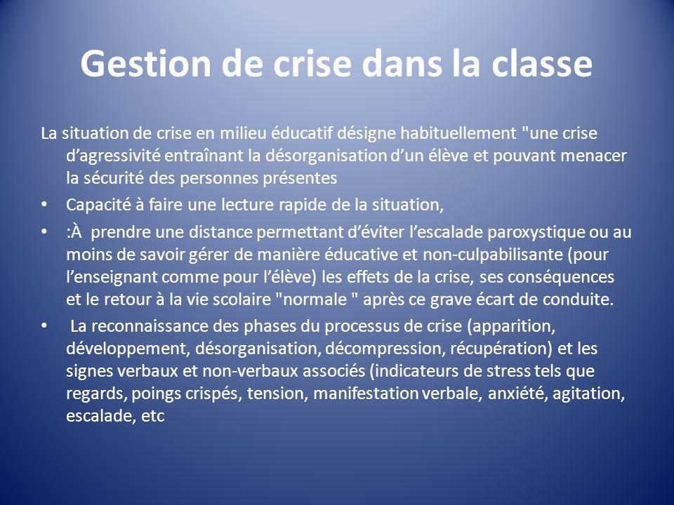 Gestion de crise dans la classe La situation de crise en milieu éducatif désigne habituellement