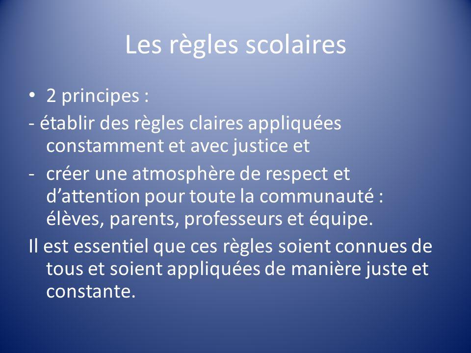 Les règles scolaires 2 principes : - établir des règles claires appliquées constamment et avec justice et -créer une atmosphère de respect et dattenti